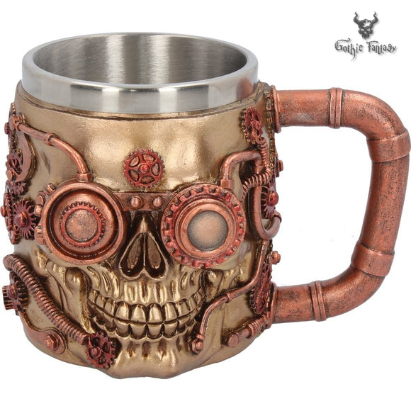 Steaming Tankard Steampunk Skull Cup Mug with Cogs & Gears