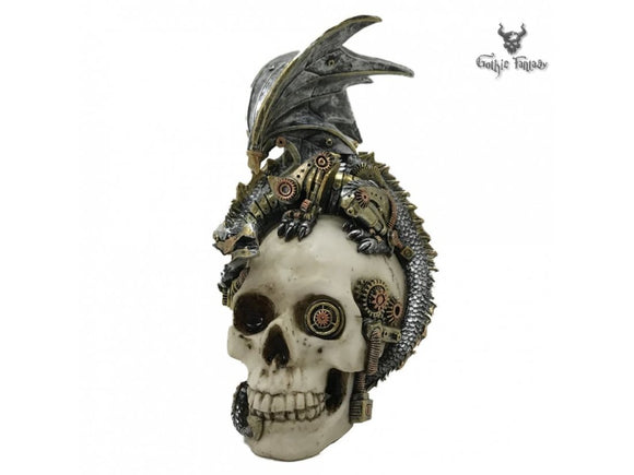 Skull with cogs and gears in its eye socket and a mechanical Dragon sat on top