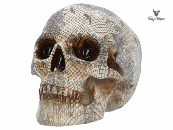 Elegant Death 19cm Skull with Diamond Mesh Pattern Nemesis Now - Gothic Fantasy Store