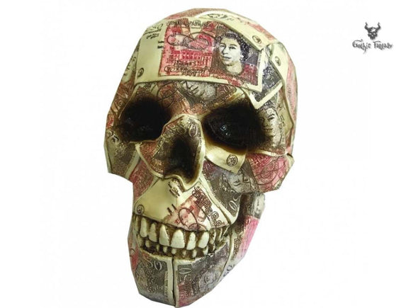 Quids In 19.5cm Skull Shaped Money Box By Nemesis Now - Gothic Fantasy Store
