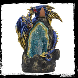 Azure Geode Backflow Incense Burner 17.8cm - Gothic Fantasy Store