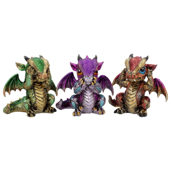 Three Wiselings Cute Dragons 3 Set Dragon Figurines 8.5cm Dragonlings Ornaments - Gothic Fantasy Store