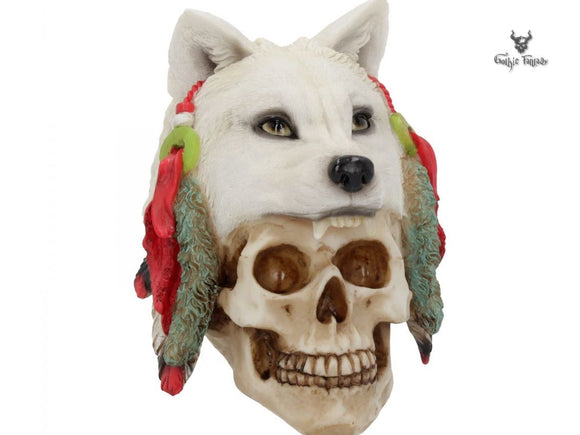 Spirit Hunter 17cm Spiritual Native American Skull Wearing a Wolf Head - Gothic Fantasy Store