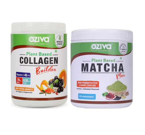 OZiva Glowing Skin Combo  Collagen Builder (250 gm) + OZiva Matcha Plus (50 gm)