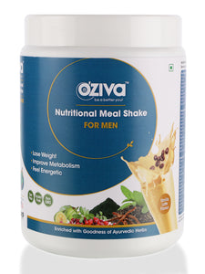 OZiva Nutritional Meal Shake, Men - Vanilla Latte, High Protein Meal Replacement with Ayurvedic Herbs & Multivitamins ( Soy Free, Gluten Free, No Preservatives )