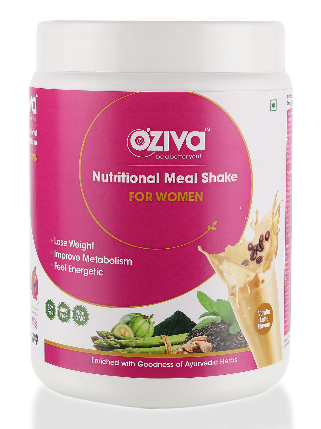 OZiva Nutritional Meal Shake, Women - Vanilla Latte, High Protein & High Fiber Meal Replacement Shake ( Soy Free, Gluten Free, No Preservatives )