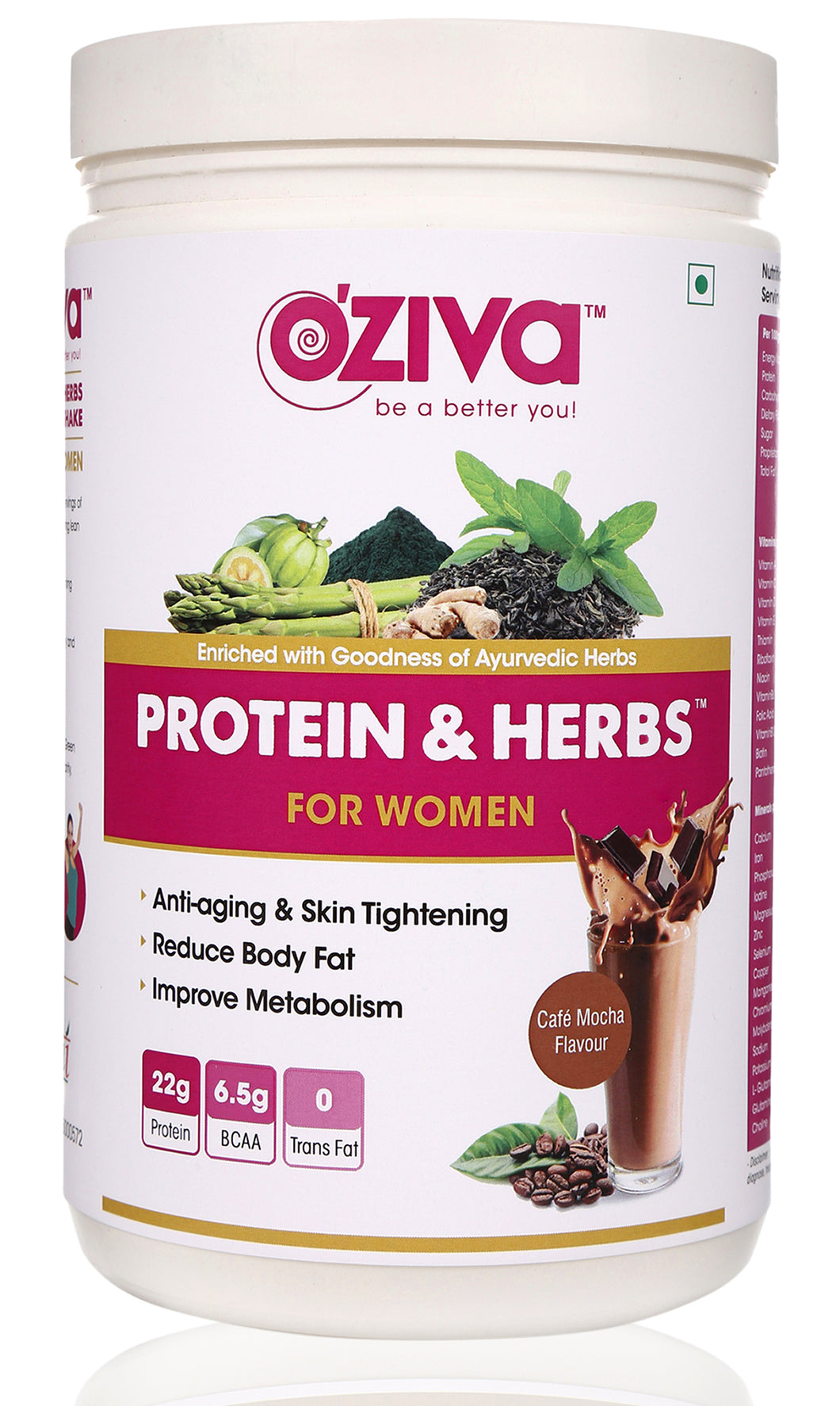 [CLEARANCE SPECIAL] OZiva Protein & Herbs, Women - Cafe Mocha, Whey Protein Powder with Ayurvedic Herbs & Multivitamins ( Soy Free, Gluten Free, No Preservatives )