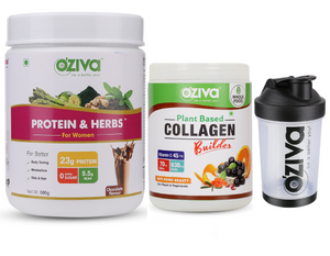 OZiva Super Saver Protein & Herbs (500g) +OZiva Collagen Builder (250 gm) + Shaker (350ml)