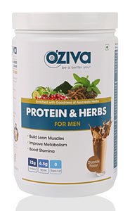 [CLEARANCE SPECIAL] OZiva Protein & Herbs, Men - Chocolate, Whey Protein with Ayurvedic Herbs & Multivitamins ( Soy Free, Gluten Free, No Preservatives )