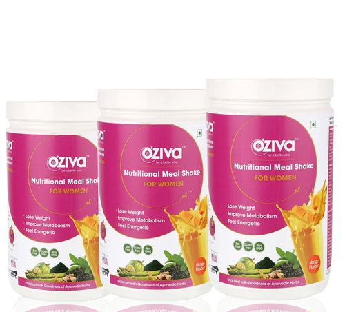 OZiva Nutritional Meal Shake, Women - Mango, High Protein & High Fiber Meal Replacement Shake 3 kgs
