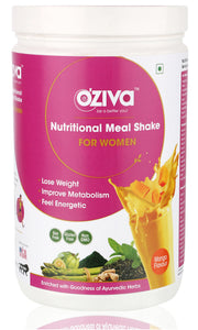 OZiva Nutritional Meal Shake, Women - Mango, High Protein & High Fiber Meal Replacement Shake ( Soy Free, Gluten Free, No Preservatives )
