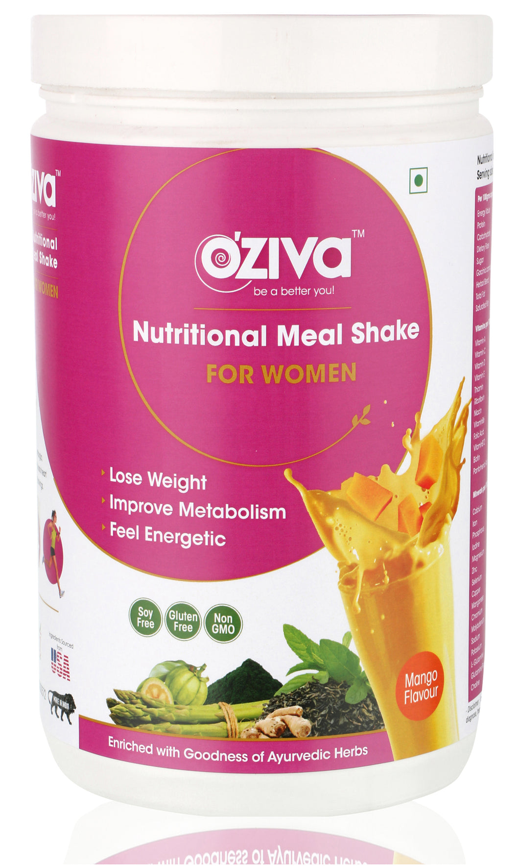 OZiva Nutritional Meal Shake, Women - High Protein & High Fiber Meal Replacement Shake - Mango