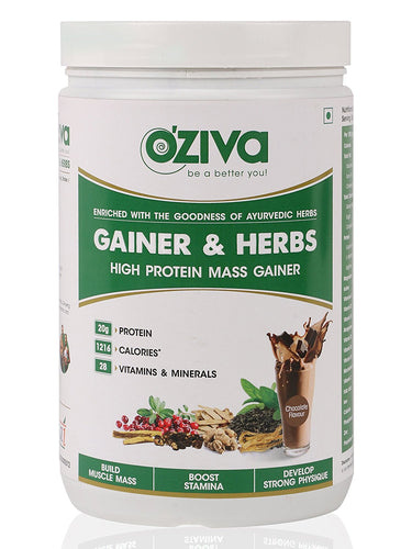 OZiva Gainer & Herbs , Mass Gainer with Ayurvedic Herbs & Whey Protein - Chocolate