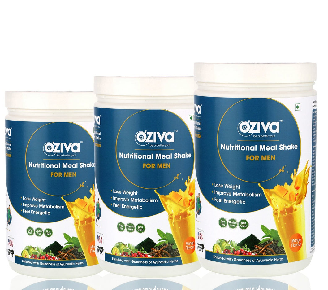OZiva Nutritional Meal Shake, Men, High Protein Meal Replacement with Ayurvedic Herbs & Multivitamins - 3 kgs, Mango