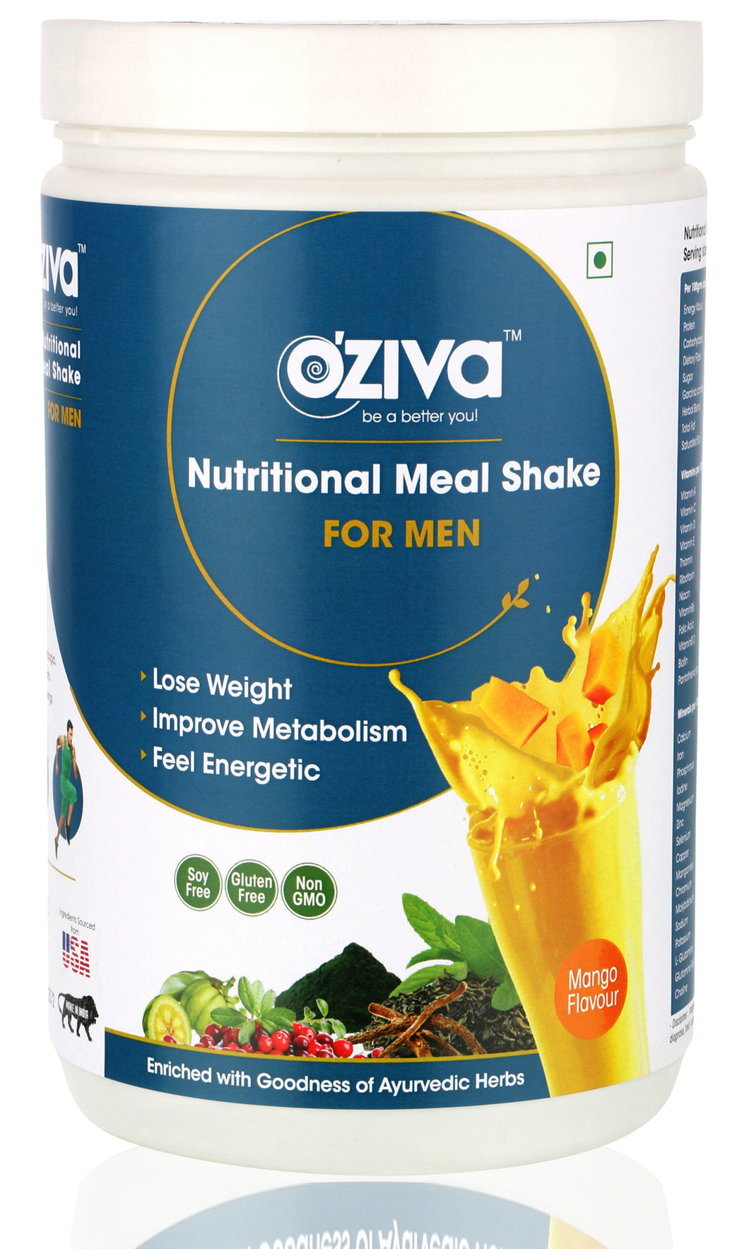 OZiva Nutritional Meal Shake, Men - Mango, High Protein Meal Replacement with Ayurvedic Herbs & Multivitamins ( Soy Free, Gluten Free, No Preservatives )