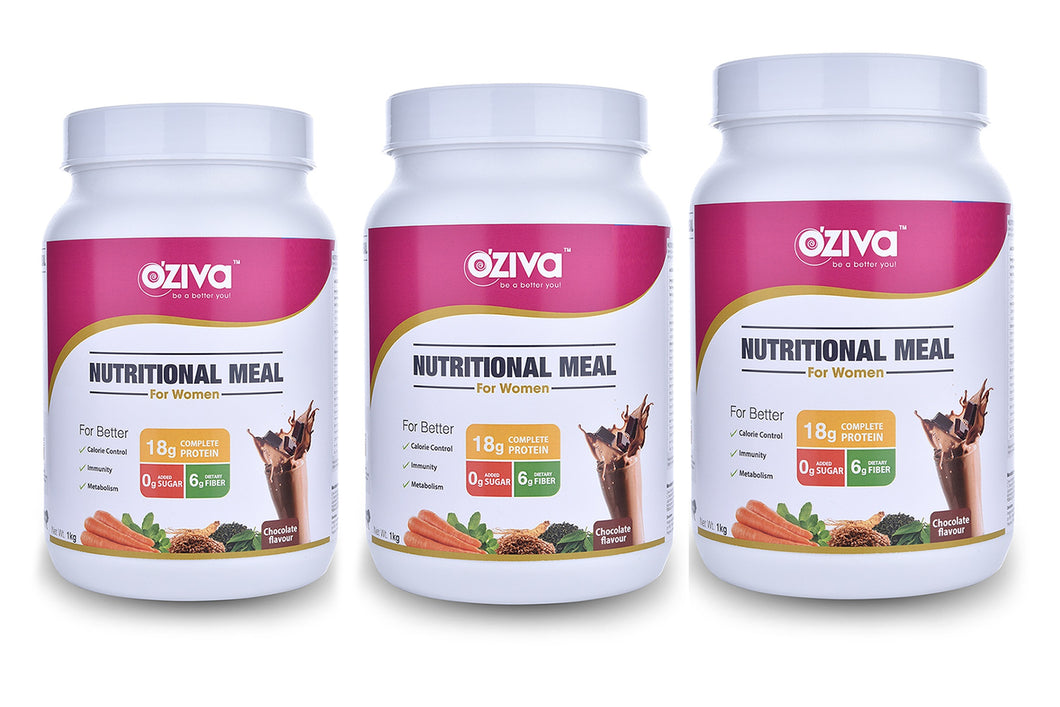 OZiva Nutritional Meal, Women, 3kg - High Protein Meal Replacement Shake with Ayurvedic Herbs