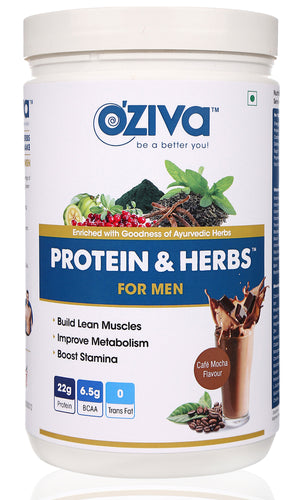 [CLEARANCE SPECIAL] OZiva Protein & Herbs For Men - Cafe Mocha, Whey With Ayurvedic Herbs ( Soy Free, Gluten Free, No Preservatives )