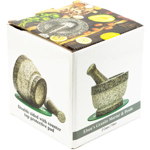 Mortar and Pestle Set - 6 Inch Bowl, 2 Cup Heavy Molcajete Granite Stone
