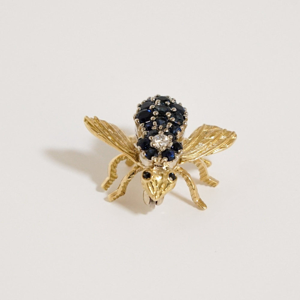 Blue Sapphire & Diamond Bee Brooch/Pin