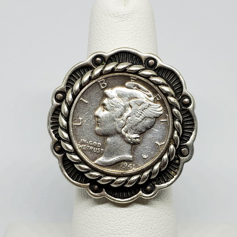 Winged Mercury Dime Coin Ring