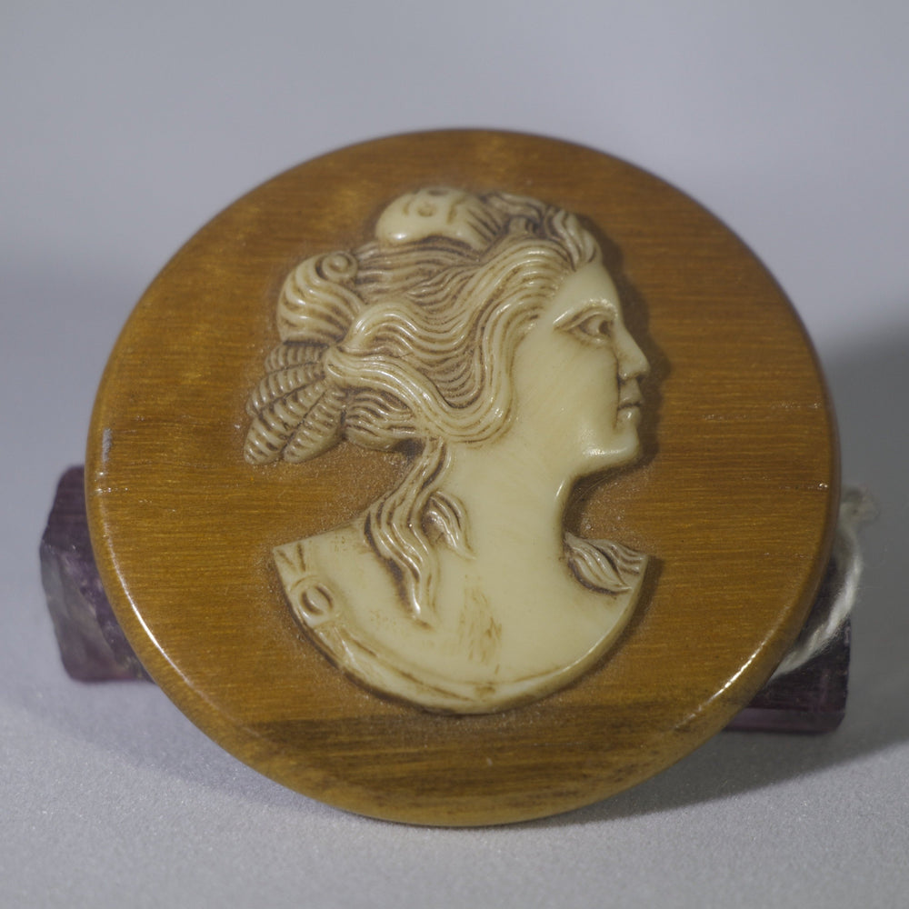 Vintage Bakelite Cameo Goddess of Psyche of Cupid Wood Brooch