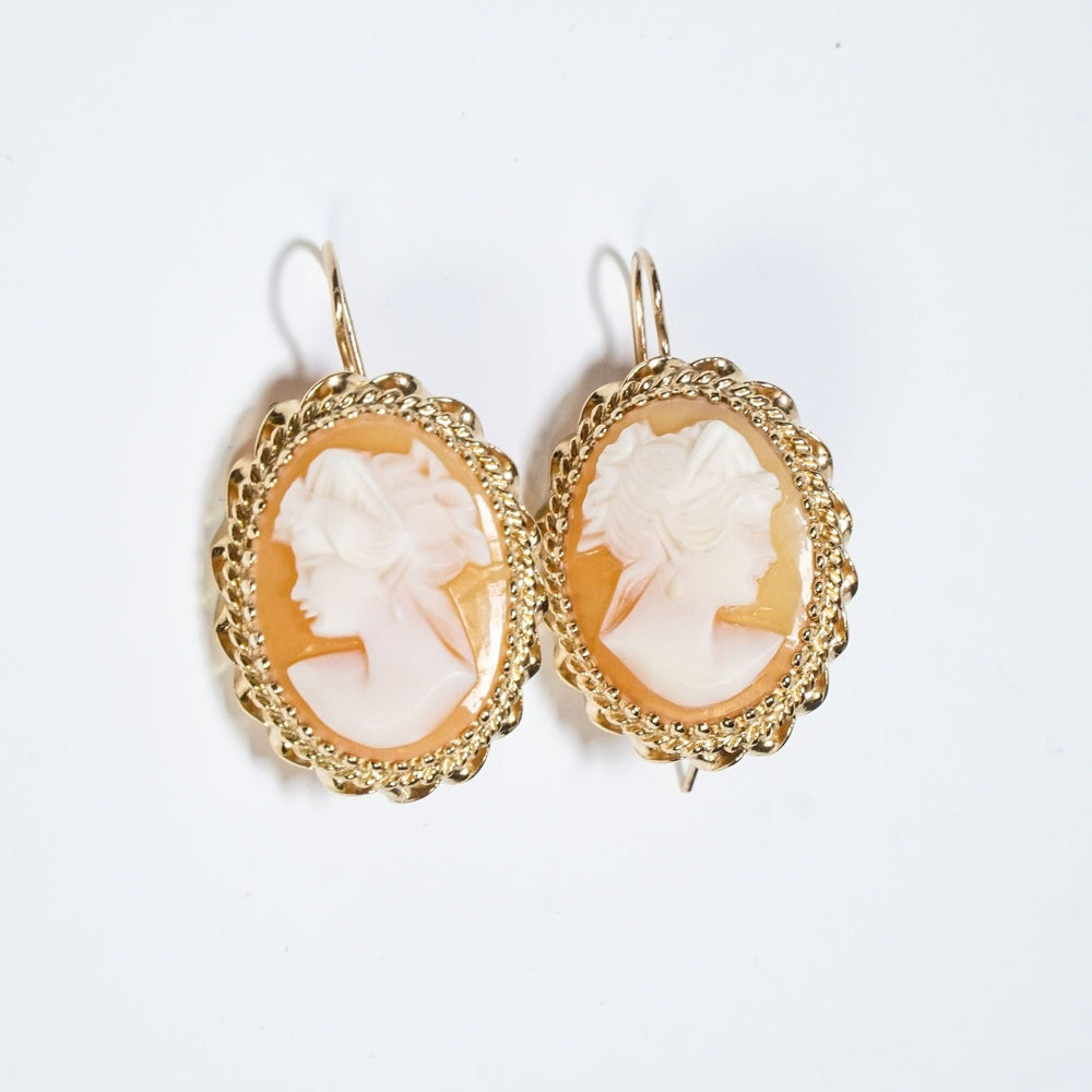 Natural Carved Shell Cameo Earrings