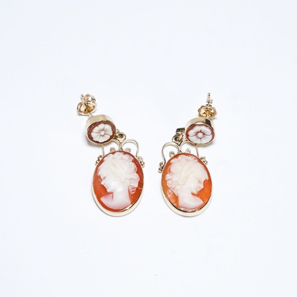 Vintage Carved Shell Cameo and Yellow Gold Earrings