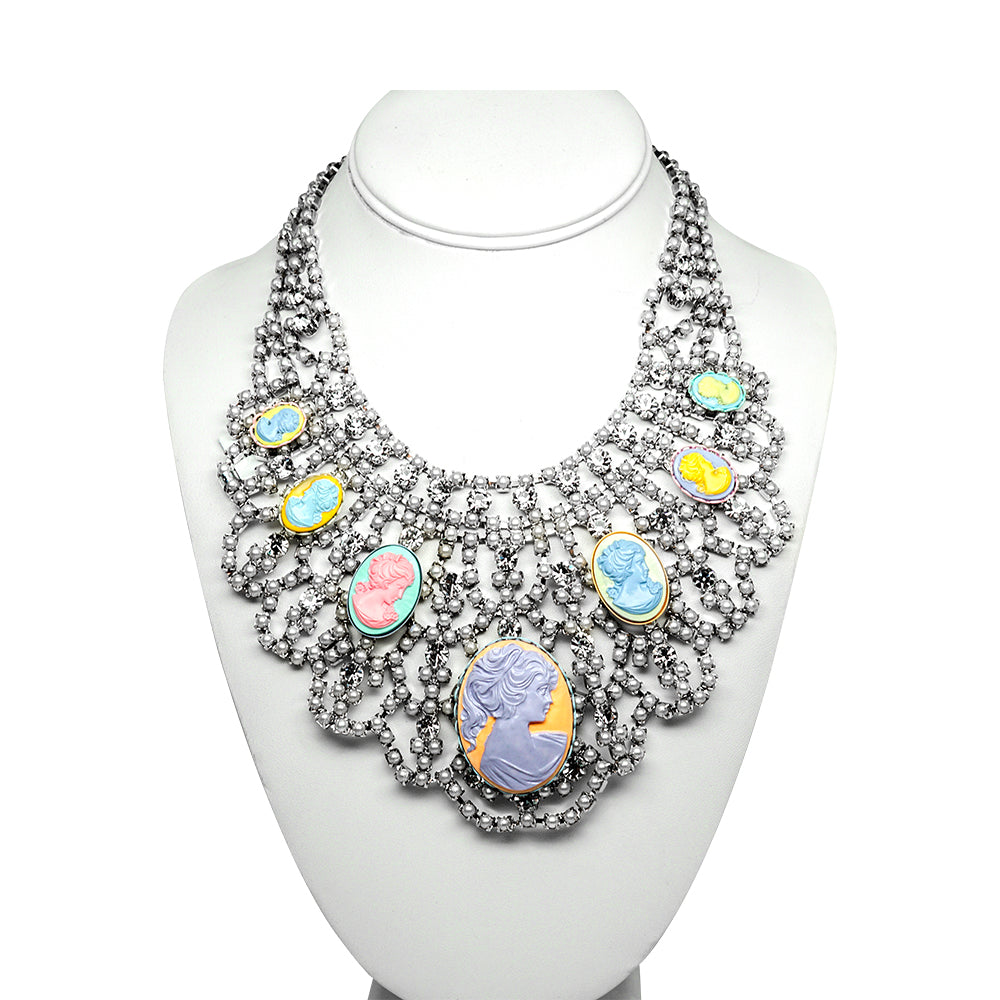 Tom Binns Cameo, Crystal and Faux Pearl Collar Necklace