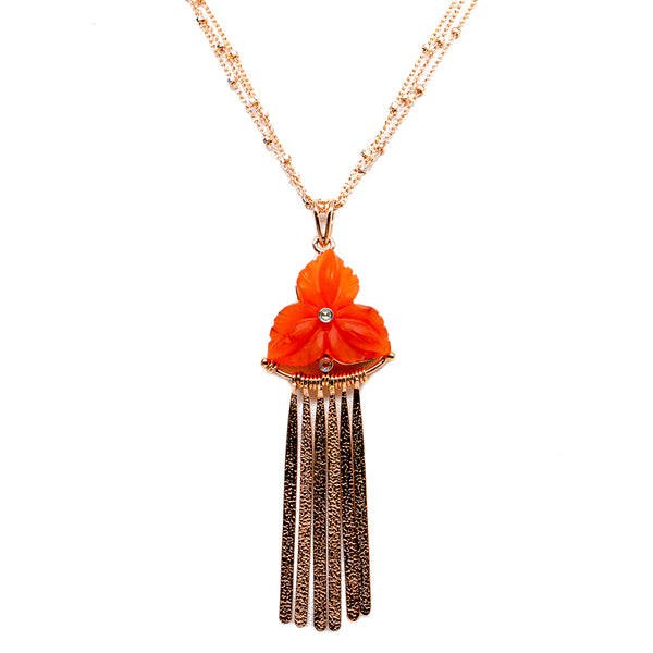 Carved Carnelian Flower Pendant in Rose Gold, Diamond Accents with Chain New