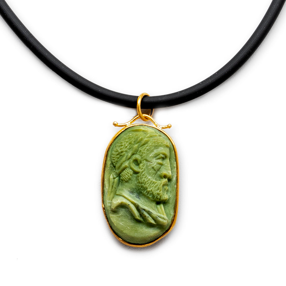 Jasper Carved Cameo Necklace - New
