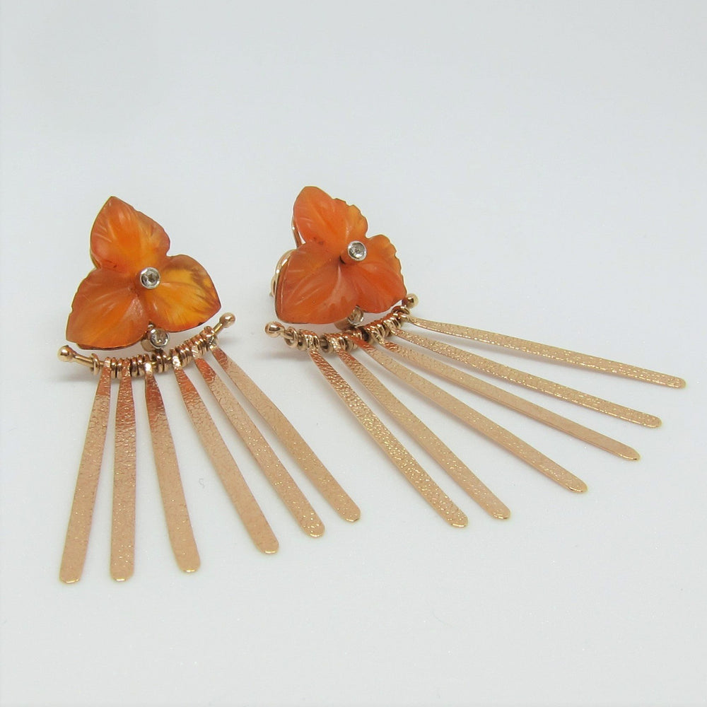 Carved Carnelian Flower Earrings in Rose Gold with Diamond Accent - New