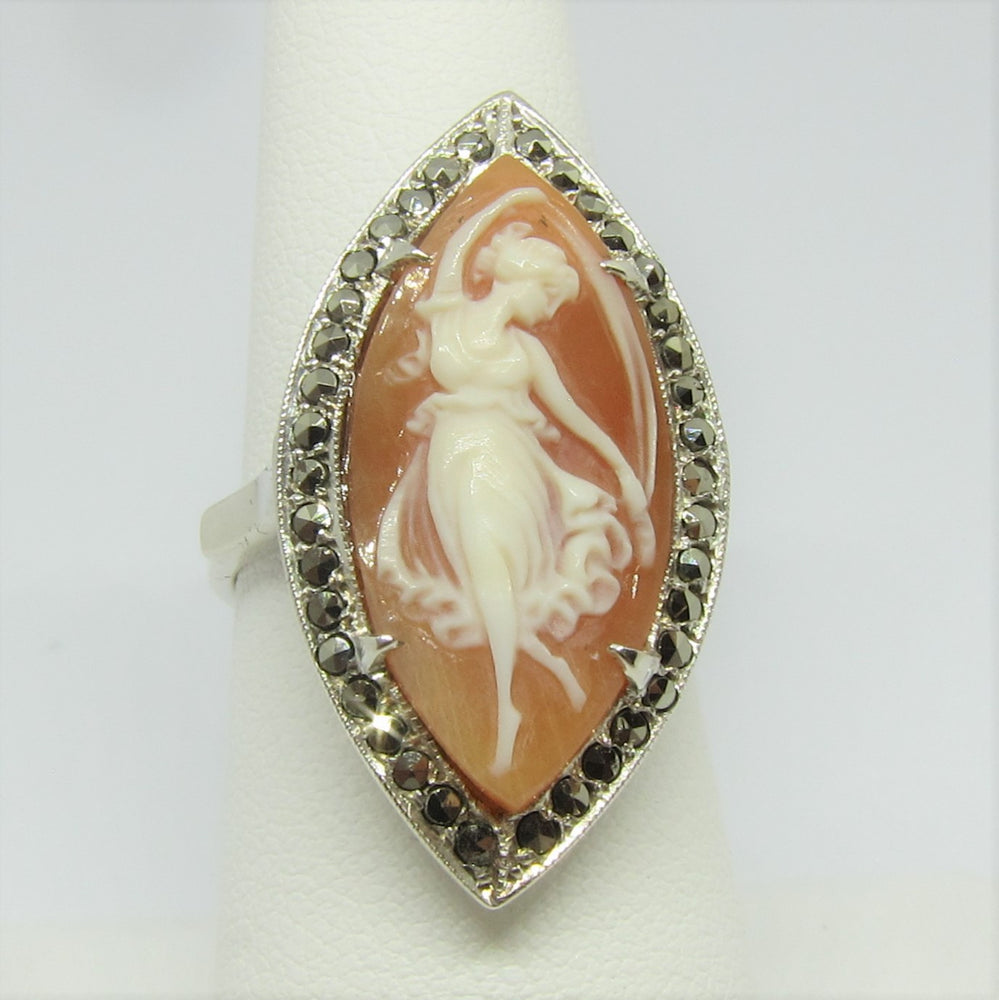 Marquise Shell Cameo Ring with Marcasite in Silver