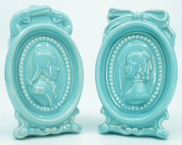 Vintage Pacific Pottery Pair Aqua Blue Cameo Planter/Vase