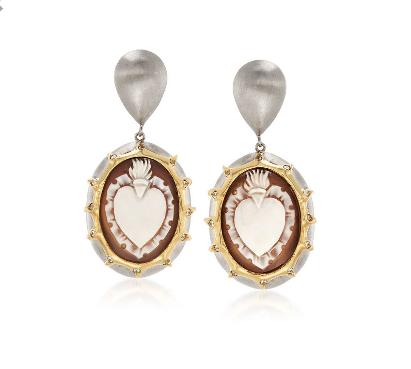Italian Cameo Shell Heart Earrings in 18kt Gold Over Sterling Silver