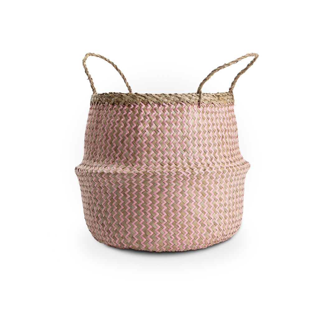 Large Zig Zag Natural Seagrass Basket with pink detail