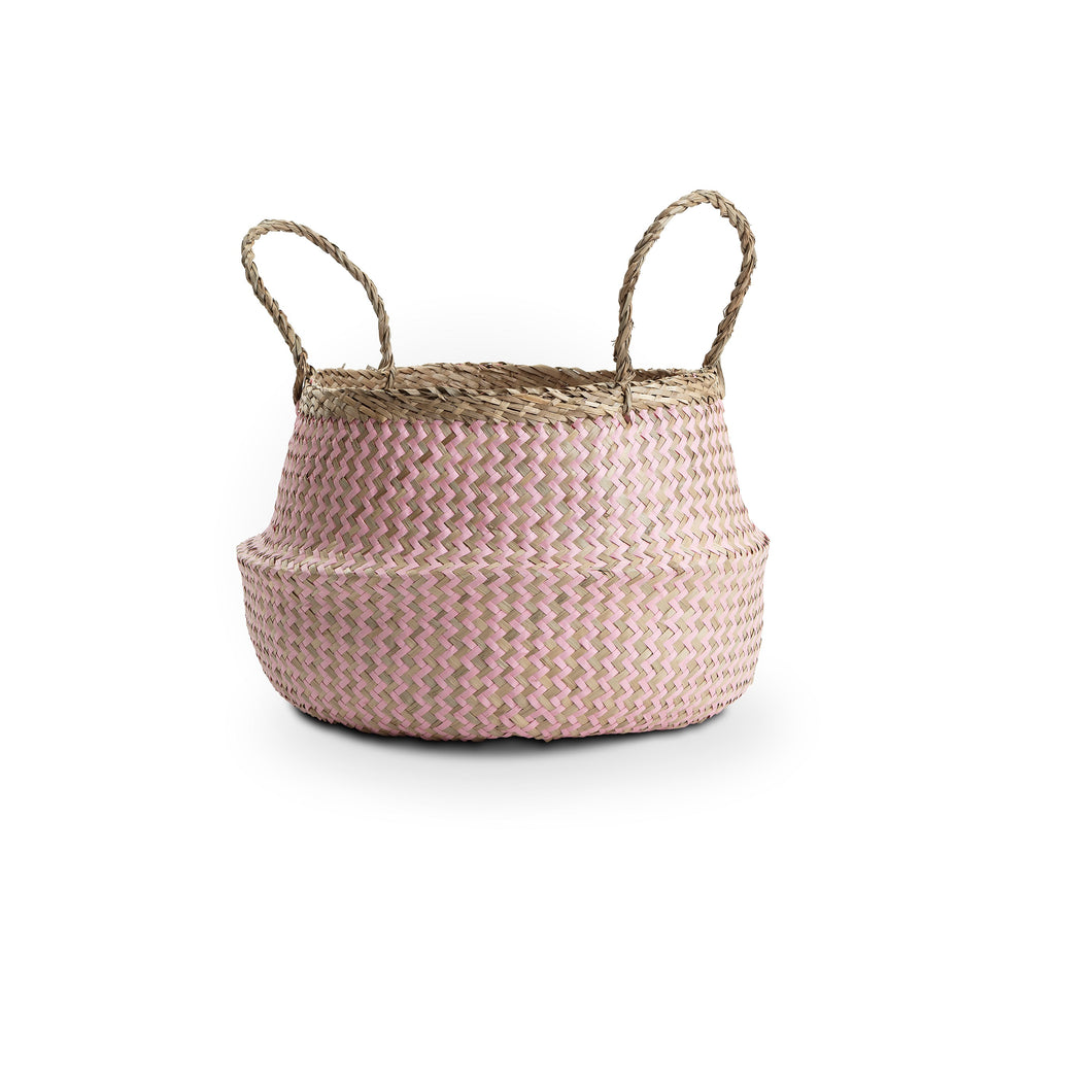Medium Zig Zag Natural Seagrass Basket with pink detail.