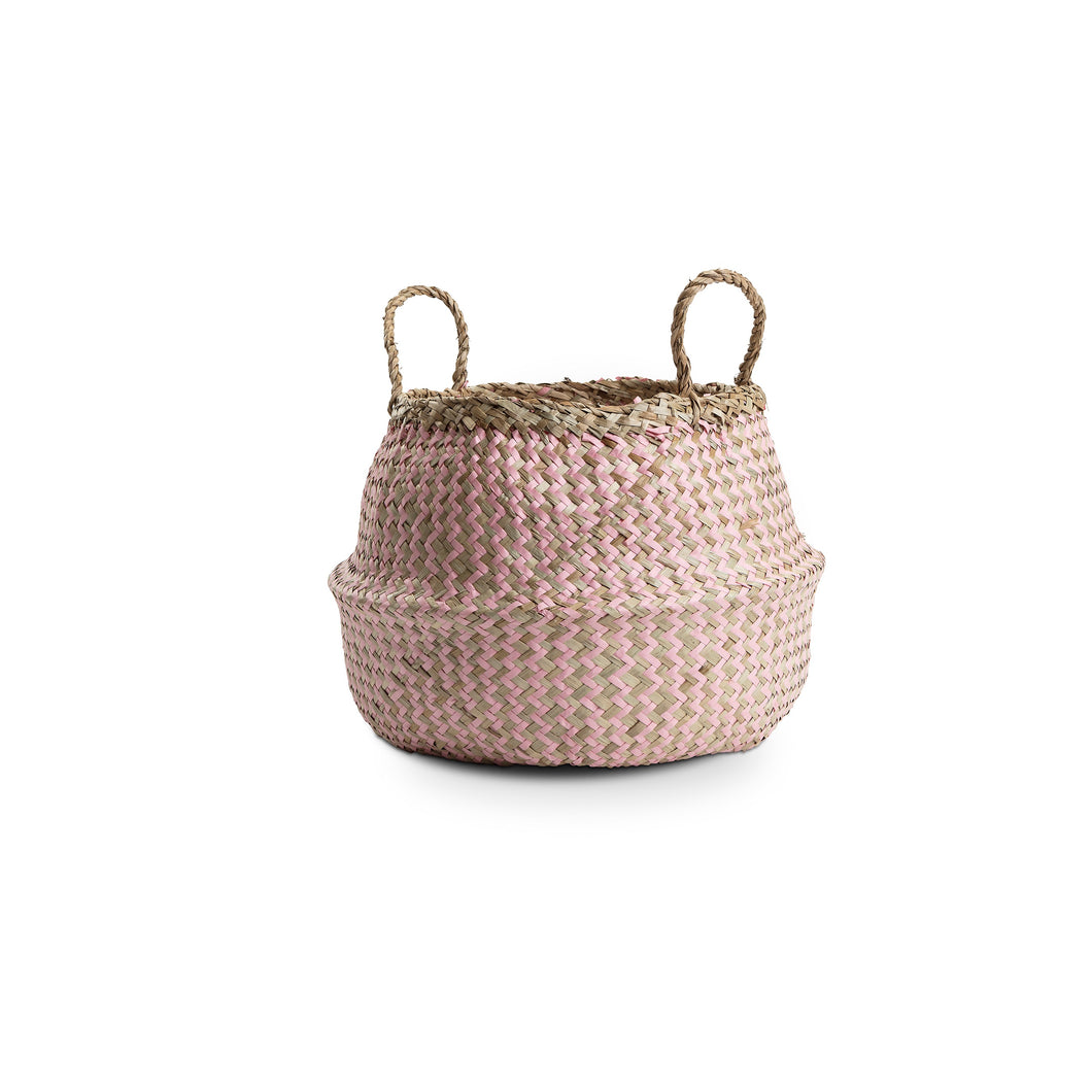 Small Zig Zag Natural Seagrass Basket with pink detail