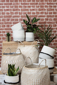 Cotton Rope Storage Basket with black frill