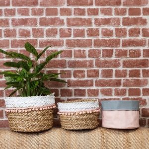 Natural Seagrass Basket with Pink Pom Poms