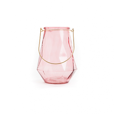 Large Dark Rose Pink Lantern With Gold Wire Handle