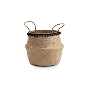 Medium Natural Seagrass Basket with Black Pom Poms