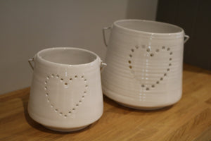 Small White Heart Candle Holder