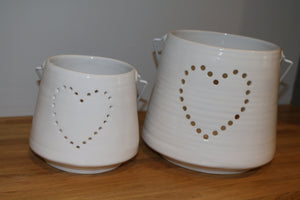 Large White Heart Candle Holder