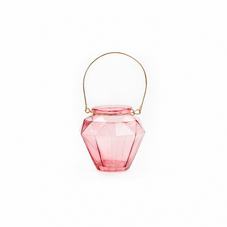 Small Dark Rose Pink Lantern With Gold Wire Handle