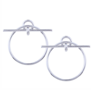 BAILEY DOUBLE T BAR SILVER HOOP EARRINGS