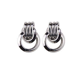 BRAZEN KNOT SILVER EARRINGS
