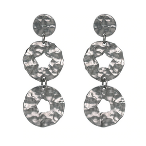 ASHIANA GUN METAL STRUCTURED DROP EARRINGS