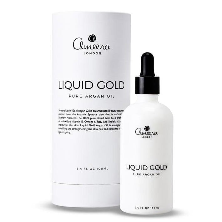 Liquid Gold Pure Argan oil 100ml l, Liquid Gold Pure Argan Oil by Ameera London is 100% organic, rich in rejuvenating Vitamins A and E and essential fatty acids, and hydrates your skin, hair and nails.  Extracted from the nut kernels of Argan trees in Agadir, Morocco, our luxurious Argan Oil reduces dryness, encourages moisture retention and protects your skin and hair from pollutants, chemicals and sun damage.