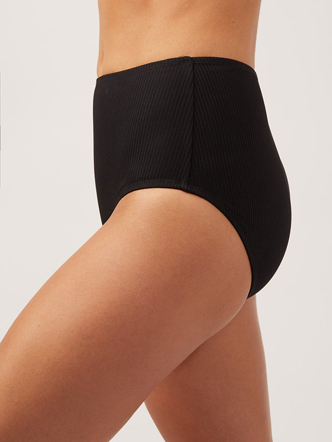 The Last Splash High Waisted Bottom Ribbed - black-ribbed