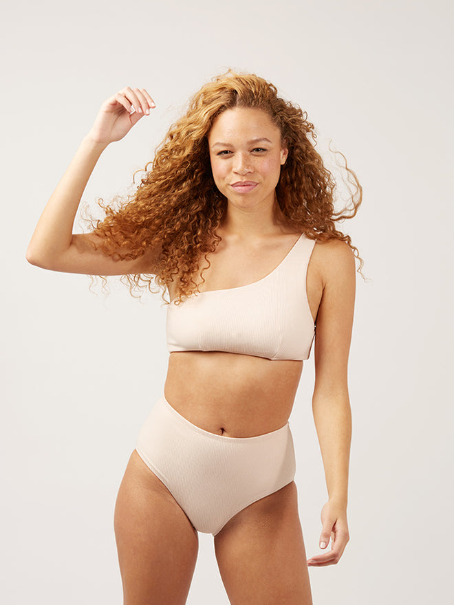 The Last Splash High Waisted Bottom Ribbed - creamsicle-ribbed